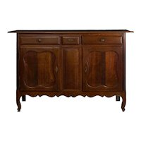 18th Century French Provincial Antique Oak Server Cabinet Console