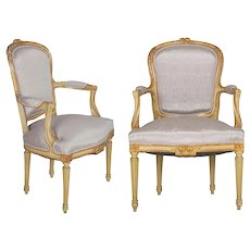 19th Century Pair of French Louis XVI Style Antique Distressed Painted Arm Chairs
