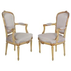 19th Century Pair of French Antique Painted Louis XVI Style Arm Chairs Fauteuils