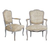 Pair of Vintage French Louis XV Style Arm Chairs in Blue Paint