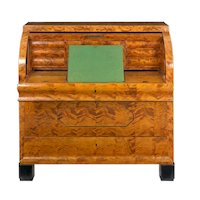 Austrian Biedermeier Figured-Maple Roll-Top Antique Writing Desk circa 1830-50