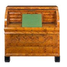 Austrian Biedermeier Figured-Maple Roll-Top Antique Writing Desk circa 1830-50