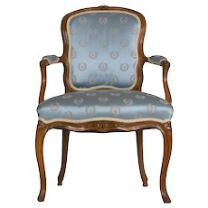 18th Century French Louis XV Carved Beechwood Antique Arm Chair