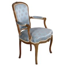 French Louis XV Carved Antique Arm Chair circa 18th Century