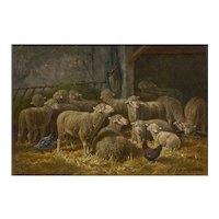 """Sheep Inside a Barn"" French Barbizon Painting by Charles-Ferdinand Ceramano"