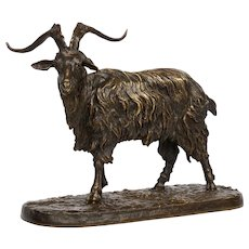 """French Antique Bronze Sculpture """"Le Bouc no. 1"""" Goat by Pierre Jules Mene"""