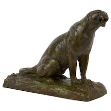 """Roaring Jaguar"" Art Deco French Bronze Sculpture by Adolphe Geoffroy"