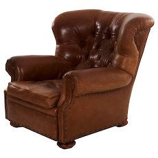 "Vintage Brown Leather ""Writer's"" Wingback Arm Chair by Ralph Lauren"