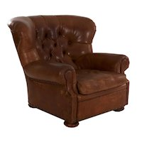 """Vintage Ralph Lauren """"Writer's"""" Leather Wingback Arm Chair"""