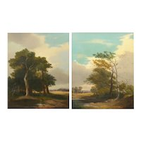 19th Century Pair of Antique English Landscape Paintings circa 1843 by G.A. Turner