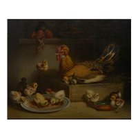 """Hen and Chicks"" (1867) Antique Oil Painting by Andrea Cherubini (Italian, 1833-1905)"