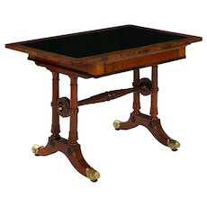 English Antique Regency Rosewood Leather-Top Writing Accent Table circa 1835