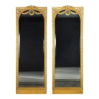 Pair of French Louis XVI Style Antique Full-Length Mirrors circa 1900