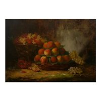 """Still-Life of Grapes and Peaches"" Antique French Oil Painting by Alfred Brunel de Neuville"