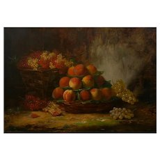 """""""Still-Life of Grapes and Peaches"""" Antique French Oil Painting by Alfred Brunel de Neuville"""
