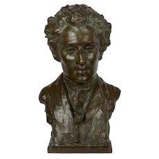 """Modern Bronze Sculpture """"Bust of Mozart"""" by Edith Lichtenstein & Gorham Foundry"""