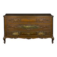 French Rococo Revival Antique Painted Commode Chest of Drawers