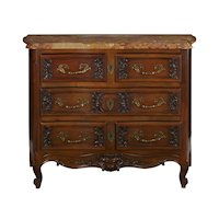 French Provincial Antique Walnut Chest of Drawers with Marble Top