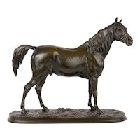 "French Antique Bronze Sculpture of Arabian Stallion ""Ibrahim"" after Pierre Jules Mene"