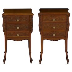 French Art Nouveau Carved Walnut Nightstand Tables - A Pair