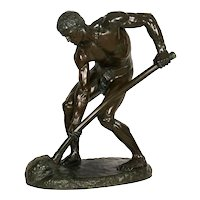 """A la terre!"" (1890) French Antique Bronze Sculpture by Alfred Boucher & Barbedienne"