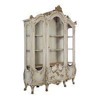 19th Century French Louis XV Gray Painted Display Bookcase Cabinet