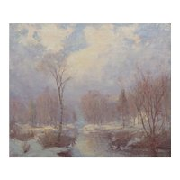 """Winter Stream"" Landscape Oil Painting by Hal Robinson (American, 1875-1933)"