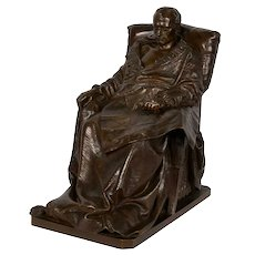 """Last Days of Napoleon"" French Antique Bronze Sculpture by Vincenzo Vela & Barbedienne"