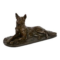 """Berger Allemand Couché"" (German Shepherd) Bronze Sculpture by Pierre-Albert Laplanche"