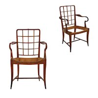 Pair of Viennese Modern Sculpted Cherry Antique Arm Chairs, Austria circa 1920-30