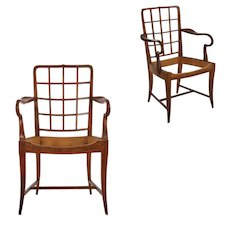 Pair of Viennese Modern Sculpted Cherry Antique Arm Chairs, Austria circa 1920-30
