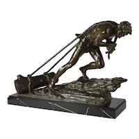 """French Antique Art Deco Bronze Sculpture """"L'Effort"""" by Edouard Drouot"""