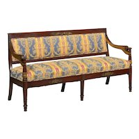 Empire Style Antique Mahogany Winged Sofa Settee, Early 20th Century