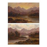 Pair of British School (19th Century) Scottish Highland Landscape Paintings