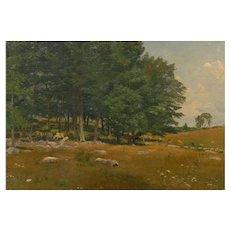 """Summer Landscape"" American Painting attr. Robert Bruce Crane, Signed"