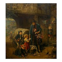 """The Toy Seller"" (1874) Antique Oil Painting by Fritz Beinke (German, 1842-1907)"