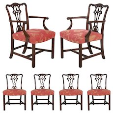 20th Century English Antique Carved Mahogany Dining Chairs - Set of 6