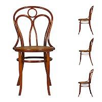 Vintage Austrian Bentwood no. 36 Dining Bistro Chairs by Josef Kohn - Set of 4