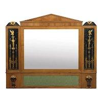 Biedermeier Fruitwood Antique Pier Mirror w/ Egyptian Eglomisé, Austria circa 1810-20