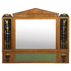 Biedermeier Fruitwood Antique Pier Mirror w/ Egyptian Eglomisé, Austria circa 1810-20