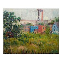 """Impressionism Oil Landscape Painting """"View of Factories"""" by Annie Lovering Perot"""