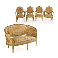 French Louis XVI Style Antique Salon Suite of Canapé & Four Chairs circa 1890