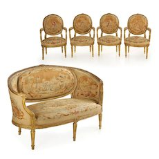 French Louis XVI Style Antique Salon Suite of Canapé & Four Chairs circa 1890
