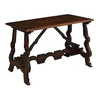 18th Century Italian Baroque Inlaid Walnut Trestle-Base Center Table