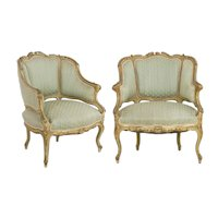 Pair of Venetian Style Carved and Painted Antique Arm Chairs