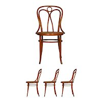 """Set of Four Austrian Bentwood Vintage """"Angel Chairs"""" no. 36 by Josef Kohn for Mundus"""