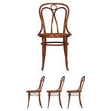 "Set of Four Austrian Bentwood Vintage ""Angel Chairs"" no. 36 by Josef Kohn for Mundus"