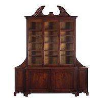 English George III Mahogany Antique Breakfront Bookcase Cabinet circa 1800