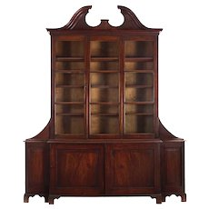 English George III Mahogany Antique Breakfront Bookcase Cabinet circa 1800