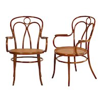 Fine Vintage Pair of Austrian Bentwood Arm Chairs by Josef Kohn for Jaworek circa 1900